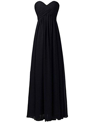 Women's Sweetheart Beading Long Chiffon Prom Dress Evening Party Gown Black US10 Black Chiffon Sweetheart Beading