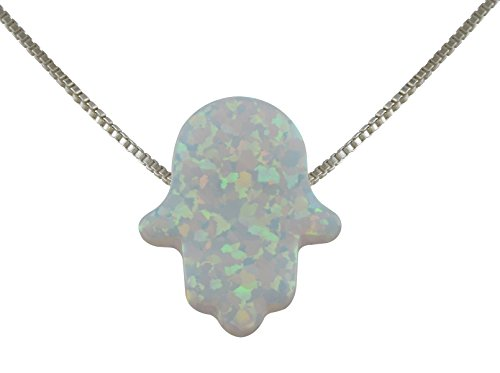 Pendant Fire White Opal - aJudaica Created Fire Opal Hamsa Hand Necklace White Opal Pendant with Sterling Silver Box Chain (16.5)
