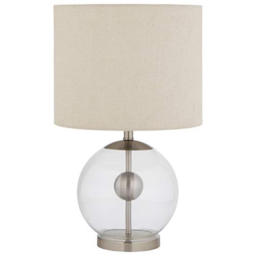 (Stone & Beam Pearl Modern Glass Orb Lamp, With Bulb, Linen Shade, 19.5