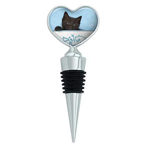Heart Pail Heart Pail - Black Kitten Cat in Bucket Tin Pail Heart Love Wine Bottle Stopper
