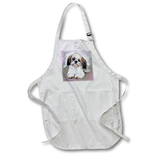 22 by 24-Inch 3dRose apr/_4807/_2 Shih Tzu Puppy-Medium Length Apron with Pouch Pockets