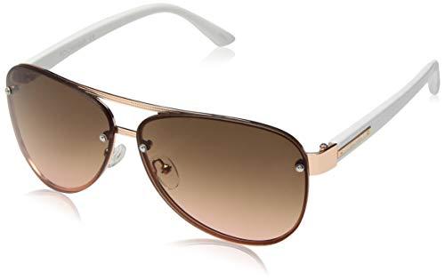Rocawear Women's R3262 Rgdwh Non-Polarized Iridium Aviator Sunglasses, Rose Gold White, 62 mm