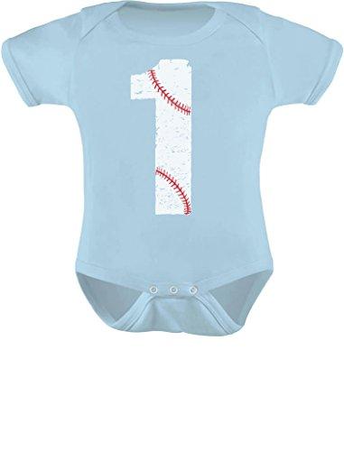 Tstars - Baseball 1st Birthday Gift for One Year Old Infant Baby Bodysuit 24M (18-24M) Aqua