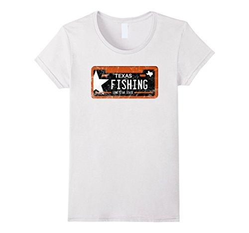 Womens Fishing Shirt Texas License Plate Large White