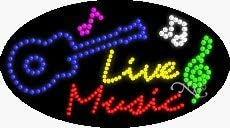 Made in USA 15 x 27 x 1 inches Live Music LED Sign