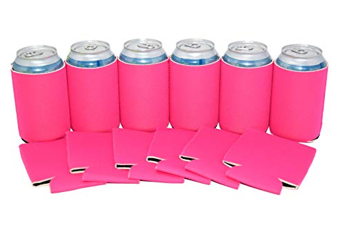 Neoprene Can Cooler Sleeve Collapsible Coolie Economy Bulk Insulation with Stitches Perfect 4 Events,Custom DIY Projects Variety of Colors (6, Hot Pink) ()