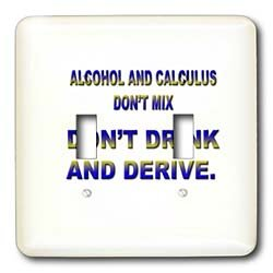 (3dRose lsp_4321_2 Alcohol and Calculus Mix Dont Drink and Derive Double Toggle Switch )
