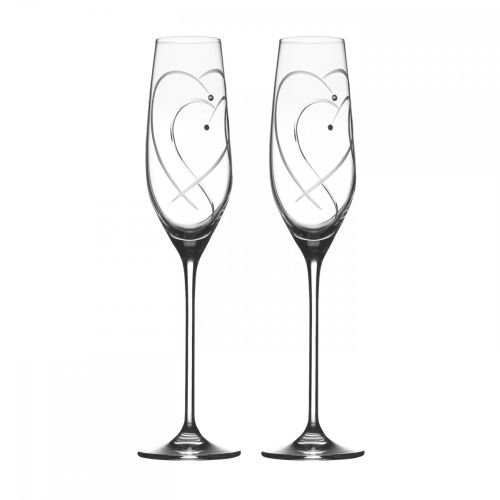 Royal Doulton Promises Two Hearts Entwined Flute Pair, Clear