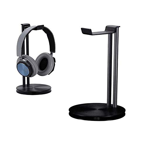 Headphone Stand Holder, LEEGOAL Aluminum Metal Desk Headset Holder Earphone Hanger Mount with Stand and Cable Organizer for All Over-Ear Headphones (Black)
