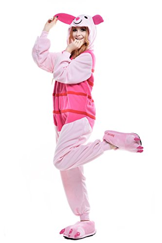 Piglet Costumes For Adults (Newcosplay Adult Anime Unisex Pyjamas Halloween Onesie Costume … (S, Piglet Pig))