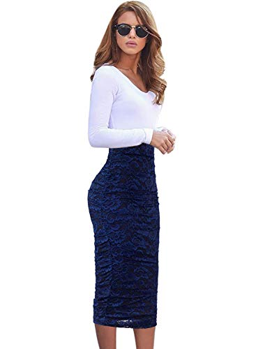VFSHOW Womens Elegant Blue Floral Lace Ruched Ruffle High Waist Work Casual Pencil Midi Mid-Calf Skirt 2381 BLU XL (Stretch Ruched Skirt)