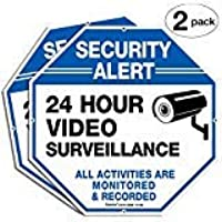 """2-Pack Video Surveillance Signs, 10""""x 10"""" Rust Free .040 Aluminum Security Warning Reflective Metal Signs, Indoor Or…"""