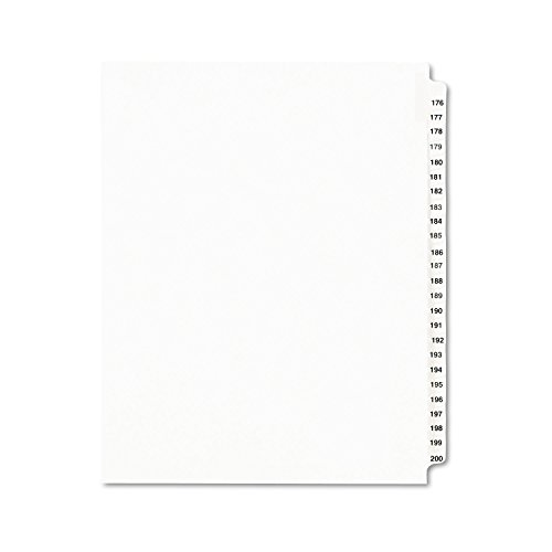 Avery Legal Dividers, Standard Collated Sets, 176-200 Tab Set  (01337), White