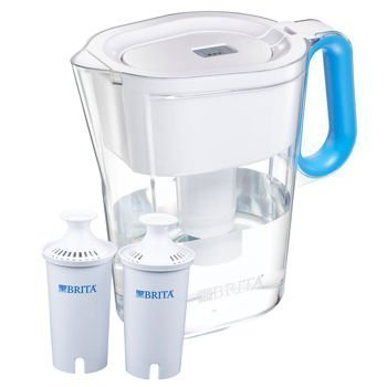 Brita Slim Water - Brita Wave Filtered Water Filter Pitcher 10 Cup Capacity Includes 2 Filters Various Colors (White-Blue Handle)