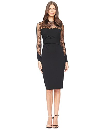 David Meister Embroidered Illusion Jersey Sheath Cocktail Dress David Meister Jersey