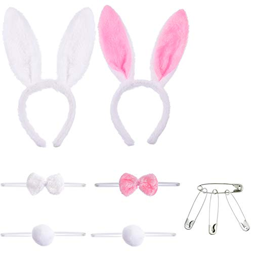 Tatuo 2 Sets Bunny Ears Headbands Tails and Bow Tie with 4 Pieces Safety Pins (Pink Mix White Set and White Set)