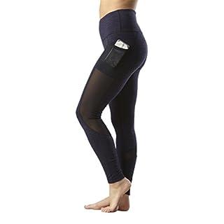 Yogalicious High Waist Mesh Leggings with Phone Pocket - Tummy Control Yoga Pants - Heather Blue Moon - XS