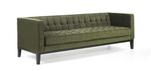 Armen Living 1010 Roxbury Sofa, Tufted Green Fabric