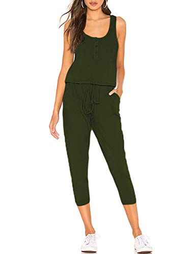 ANRABESS Women Tank Jumpsuits Sleeveless Button Front Cute Long One Piece Romper Playsuits Jumper with Pockets JY-A06-junlv-M (Button Front Jumper)