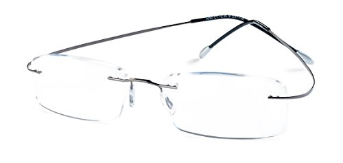Specs Flexible Rimless Reading Glasses (Shiny Dark Gunmetal) +1.75