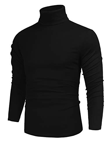 poriff Men's Big & Tall Fashion Knitted Solid Turtleneck Trim Pullover Sweater Black XXL -