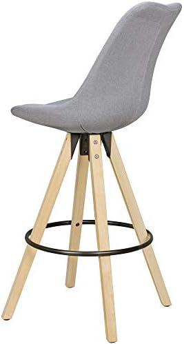 KADIMA DESIGN rétro scandinave Set de 2 chaises amil Tissu Gris avec Une Chaise de Bois Avant 2 pièces Tabouret de comptoir Hauteur du siège 72 cm