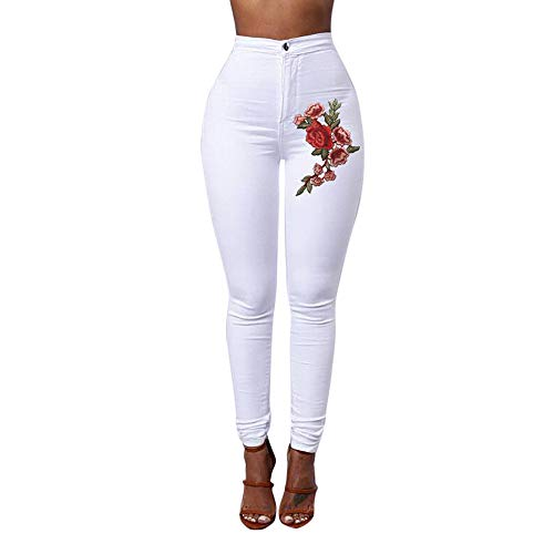 GOVOW Just My Style Size Jeans for Women Plus Size Skinny Floral Pants Sexy Skinny Pencil Pants(L,White)