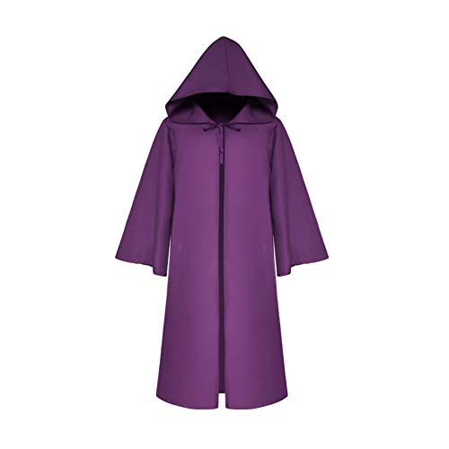Hzjundasi Halloween Fiesta Cosplay Encapuchado Morado Disfraces Capa Unisex Cloak BxpBST