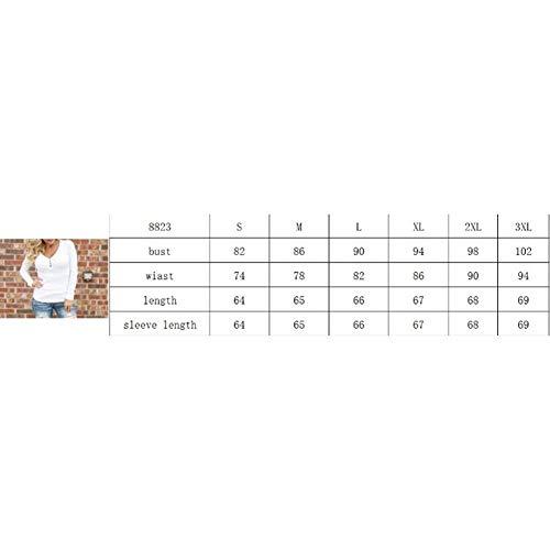 Neck Monocromo Pullover Casuale in Donne Moda Blau Bluse Slim Alta Alto qualità Donna Camicetta Fit Primaverile Battercake Elegante V Camicette Manica Lunga Autunno di Button Accogliente 07awH0qPn6