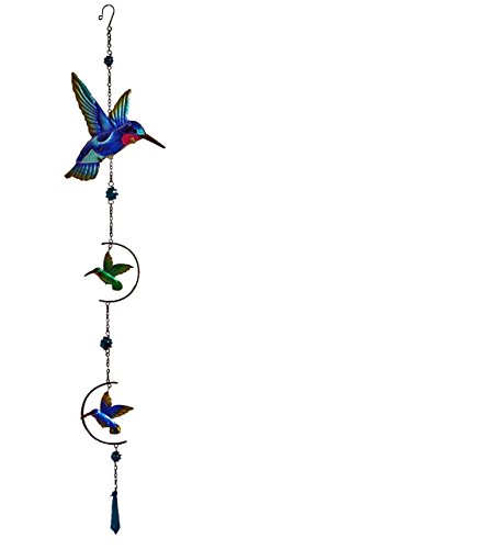Decorative Continental Door - Continental Art Center Hummingbird Ornament, 9.5 by 1 by 40-Inch, Blue