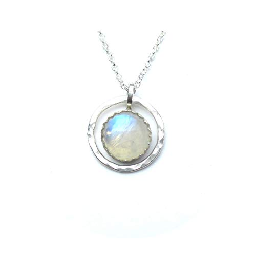 Rainbow Moonstone Necklace with Hammered Silver Circle Pendant