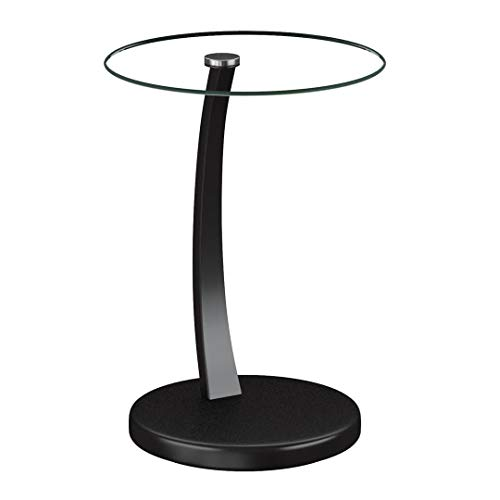 Coaster Home Furnishings Accent Table with Round Glass Table Top Cappuccino and Clear Contemporary Glass Side Table