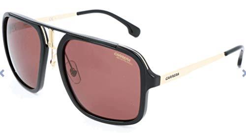 Carrera Men's Ca1004s CA1004S Polarized Aviator Sunglasses, BLACK GOLD/BURGUNDY POLARAIZED, 57 mm