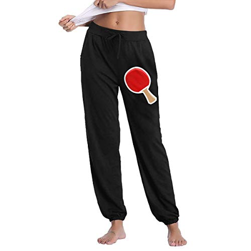 YOOJPC-6 Women's Ping Pong Paddle Sweatpants with Pockets Comfy ()