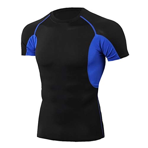 iHPH7 T-Shirt Men Dry-Fit Moisture Wicking Active Athletic Performance Crew T-Shirt Man Workout Short Sleeve Fitness Sports Running Yoga Athletic Shirt Top Blouse XL 4- Blue ()