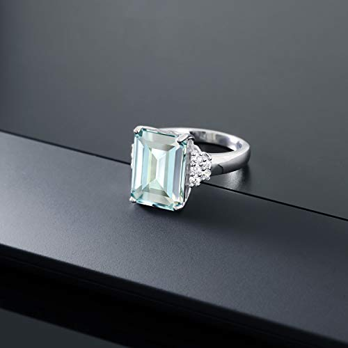 Gem Stone King Sterling Silver Sky Blue Simulated Aquamarine Women's Engagement Ring (6.94 Cttw Emerald Cut)