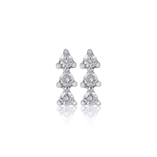 Euforia Jewels IGI Certified 14K White Gold 0.15 Carats Natural Diamonds (SI2-I1 Clarity/F-G Color) Round Full Cut Earring With Silver Silicon Post