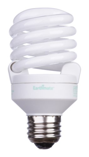 Earthmate E2P052AK 20-Watt Super Mini-Spiral CFL 2700K Bulb, 6 Pack