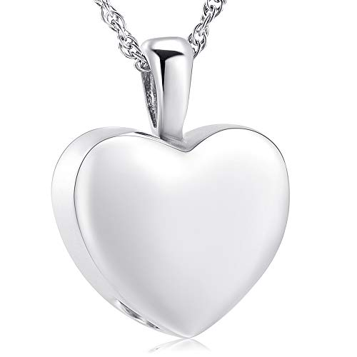 (shajwo Cremation Jewelry for Ashes Holder - Heart Locket Pendant Necklace Jewelry - Keepsake Funeral Urns Memorial Gift for Women/Men, Free 20 Inch Chain+Fill Kit)