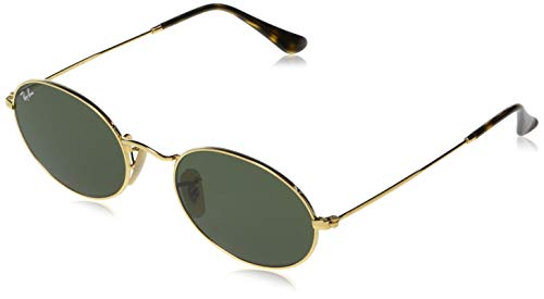 Ray-Ban RB3547N Oval Flat Lenses Sunglasses, Gold/Green, 54 ()
