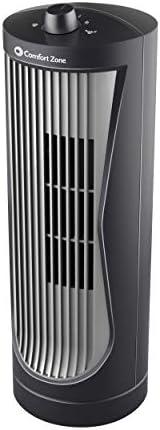 """Comfort Zone 30.5cm oscilante computadora Ventilador de Torre, Negro, Plateado, 12"""" Tower F"""