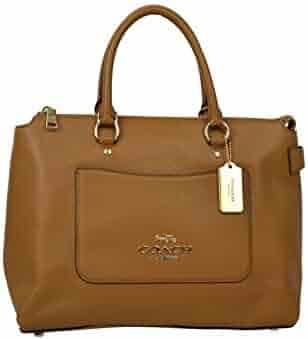 61a61c2826fa Coach Womens F31467 Refined Pebbled Leather Ema Satchel Shoulder Bag Purse  Light Saddle