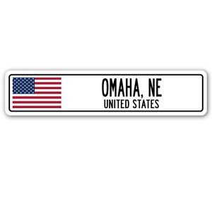 Omaha Tools - 3 Pack: OMAHA, NE, UNITED STATES Street Sign Sticker 3