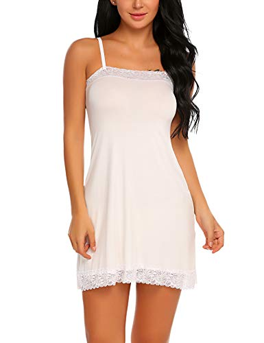 - ADOME Women Chemise Lingerie Sexy Nightie Full Slips Lace Babydoll Sleepwear Dress (XX-Large, White(#6850))