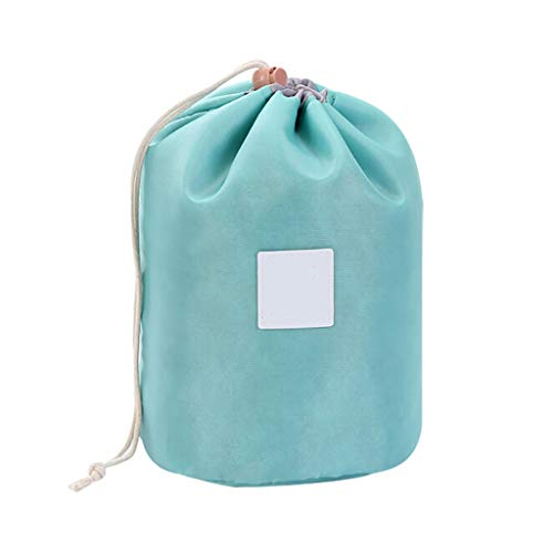 Portable Makeup Toiletry Cosmetic Travel Organizer Bag, Travel Drawstring Barrel Shaped Storage Bag for Women Girls
