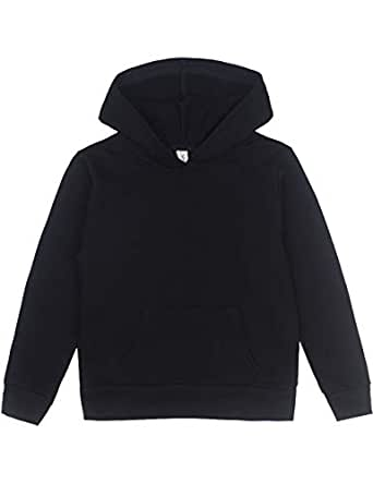 Spring&Gege Youth Solid Pullover Sport Hoodies Soft Kids Hooded Sweatshirts for Boys and Girls Size 3-4 Years Black