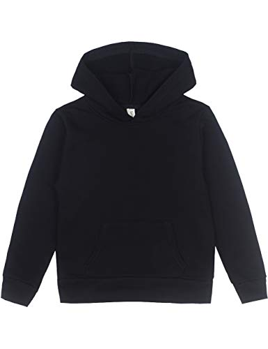 Spring&Gege Youth Solid Pullover Sport Hoodies Soft Kids Hooded Sweatshirts for Boys and Girls Size 11-12 Years Black