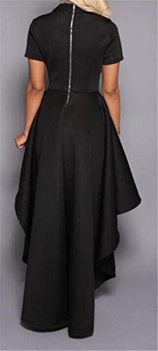Cromoncent Pour Femmes Casual Ras Du Cou À Manches Courtes Volants Robe Évasé Salut-bas Noir