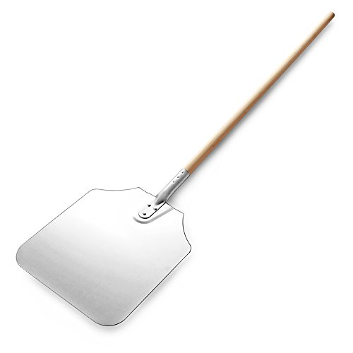 New Star Foodservice 50172 Aluminum Pizza Peel, Wooden Handle, 12 x 14 inch Blade, 52 inch overall (Best Outdoor Wood Fired Pizza Oven)