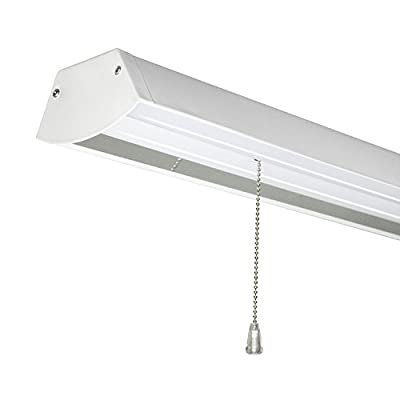 Sunlite LFX/SHOP/48W/E/W 4 Foot 48 Watt 120-277 Volt LED Work Shop Light Fixture with Pull Chain 5 Foot Cord, White Finish